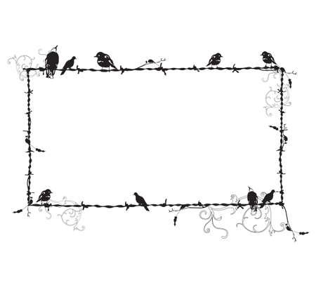 Ilustración de un marco decorativo con aves