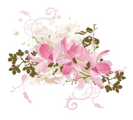 Ilustracja z kwiatów tle