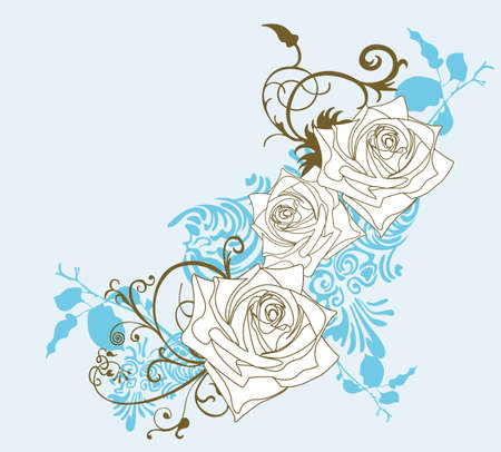 Illustrazione di rose e modelli decorativi Vettoriali