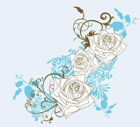 Ilustración de las rosas y los patrones decorativos Ilustración de vector