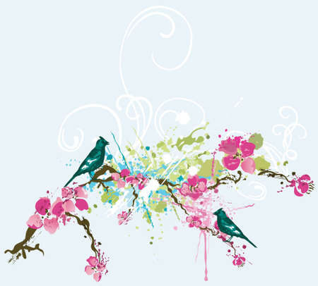 Illustration of a spring background with flowers and birds