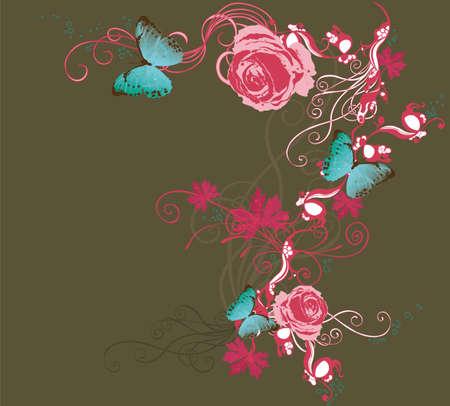 Illustration of roses and butterflies Vektorové ilustrace