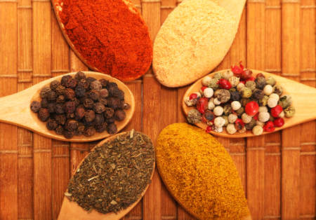 Group of indian spices and herbs difference ware in wooden spoons on wooden background with top view and copy space for design foods, vegetable, spices, herbs, healthy lifestyle or other your content.