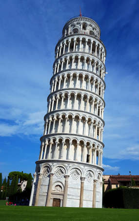 Pisa, Italy - leaning tower, cathedral and baptistery panorama, Piazza dei Miracoli complex on a bright sunny day