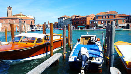 General view of the canal in Murano, Venice Lagoon, Italy. Island attractive to tourists as a place of manufacture of products made from Murano glass.