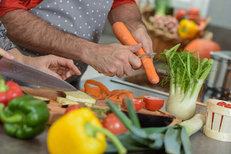 Cutting of vegetables in the kichen