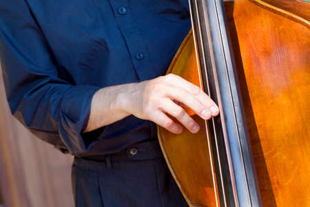 Detail view of a man playing double bass