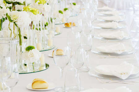chastity: Tables decorated for a party or wedding reception