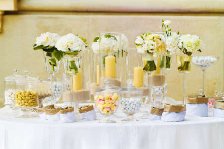reception room: white candy for a wedding Stock Photo
