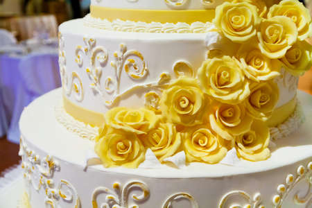 layer cake: beautiful white nuptial cake with flowers