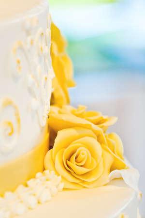 nuptial: beautiful white nuptial cake with flowers