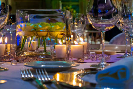 Tables decorated of flowers  for a party or wedding reception