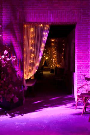 holiday lighting: Wedding reception in restaurant the night