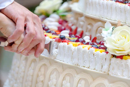 wedding party: A beautiful nuptial cake to the fruit, stratified and colored Stock Photo