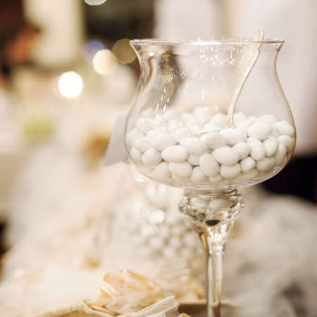 wedding favor: white candy for a wedding Stock Photo