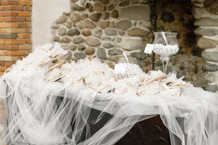 favor: white candy for a wedding Stock Photo