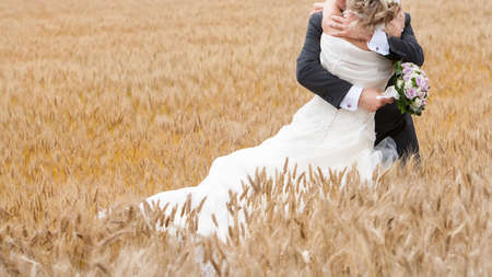 beautiful bride: bride and groom in a grain field Stock Photo