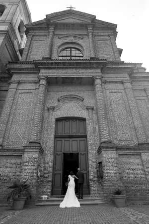entrance of the spouse in church with the father photo