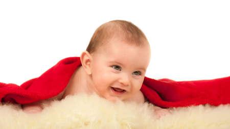 sheep skin: reclining baby on the sheep skin