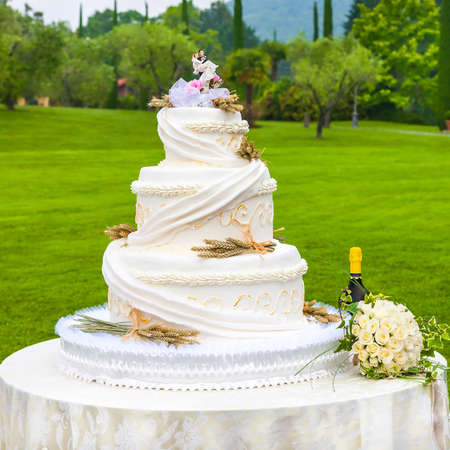 pastel boda: hermoso pastel nupcial blanco con rosas Foto de archivo