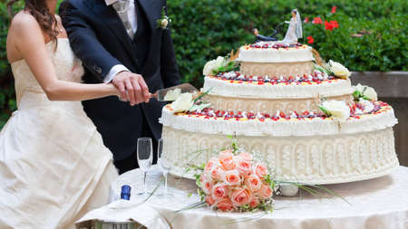 spouses cut their wedding cake Stock Photo