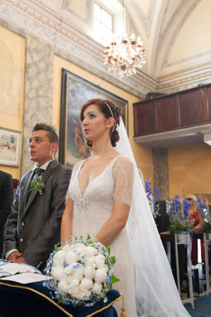 detail of the spouses during the wedding