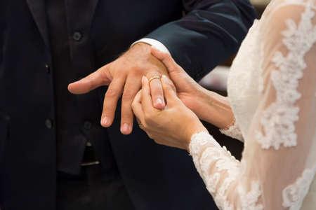 Wedding ring exchange Standard-Bild