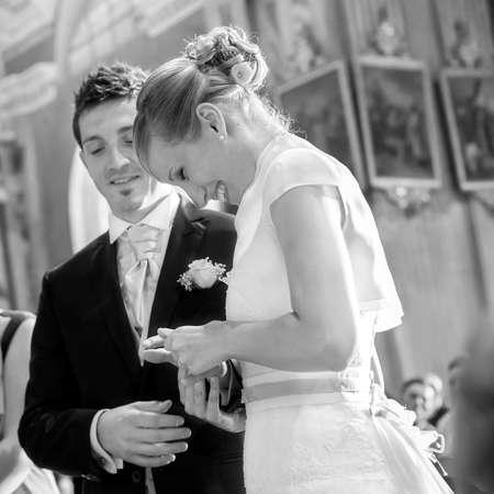 Wedding ceremony ring exchange photo