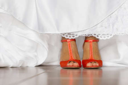 bride shoes for wedding day photo