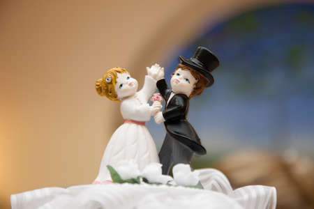 wedding couple topper on the cake