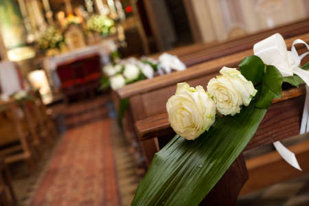 detail of beautiful flower wedding decoration in a church