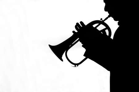trumpet men silhouette playing