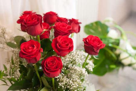 symbolically: Close-up bride bouquet red rose Stock Photo