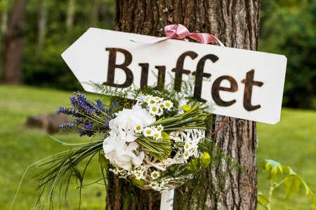 recepcion: firmar la recepción de la boda Foto de archivo
