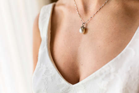 diamond necklace: bride necklace of pearl Stock Photo