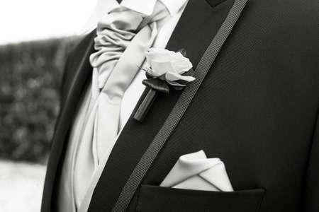 lapel: boutonniere in tuxedo lapel Stock Photo