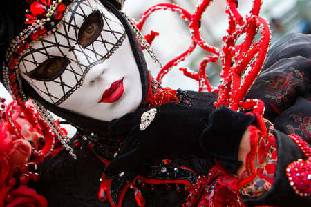 costumed: Traditional costumed during Carnival in Venice