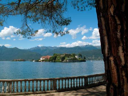 isola: Landscape with Isola Bella, Island on Maggiore lake, Stresa, Italy