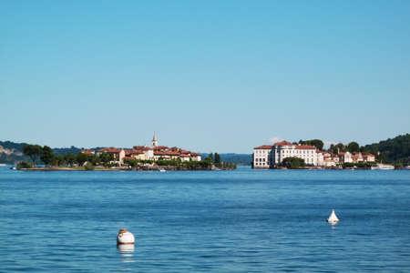 borromeo: Landscape with island borromeo, Island on Maggiore lake, Stresa, Italy