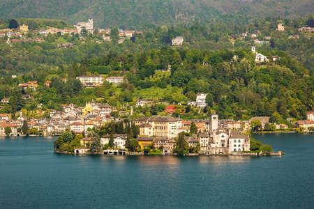 orta: Village of Orta and the Island of San Giulio on Lake Orta Italy