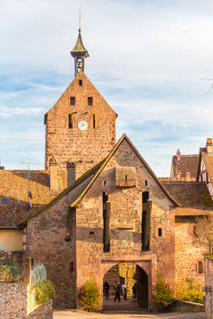 wine road: The medieval belfry, Riquewihr Alsace France.