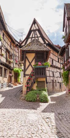 timbered: Timbered houses in the village of Eguisheim in Alsace, France. July 22 2015 Editorial