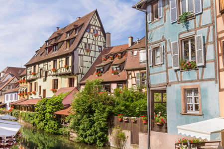 timbered: Colmar, Petit Venice, water canal and timbered houses. Alsace, France. July 20 2015 Editorial