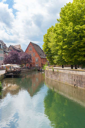 petit: Colmar, Petit Venice, water canal and timbered houses. Alsace, France.