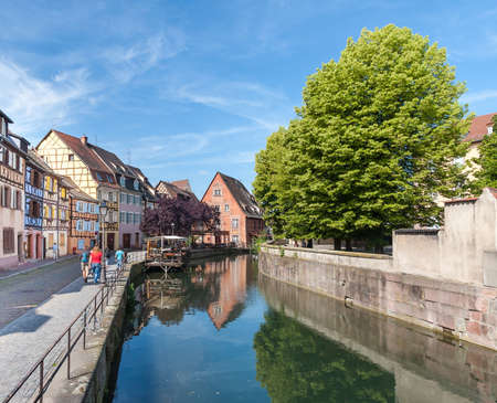 petit: Colmar, Petit Venice, water canal and timbered houses. Alsace, France. July 20 2015 Editorial