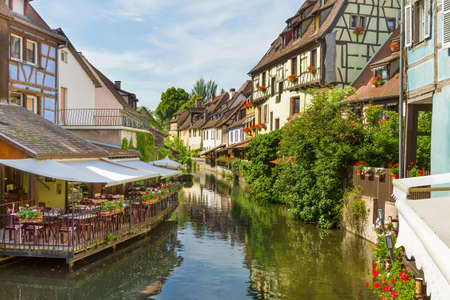 half timbered: Colmar, Petit Venice, water canal and timbered houses. Alsace, France.