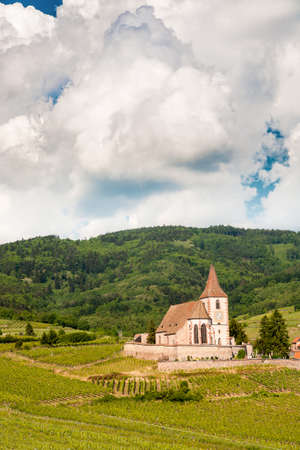 saint jacques: Church of Hunawihr wine village Alsace, France