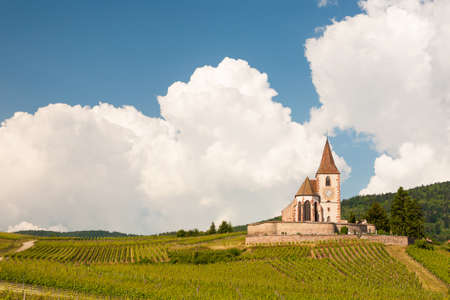 st jacques: Church of Hunawihr wine village Alsace, France