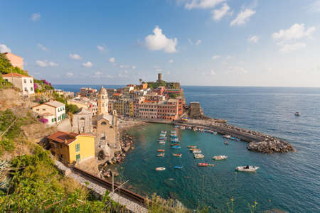 vernazza: Panoramic view of ocean and harbor in colorful village Vernazza, Cinque Terre, Italy
