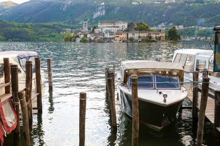 orta: Village of Orta and the Island of San Giulio on Lake Orta, Piedmont,Italy